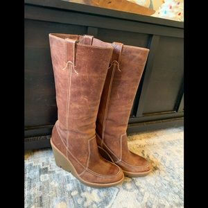 Michael Kors tall leather wedge boots size 8